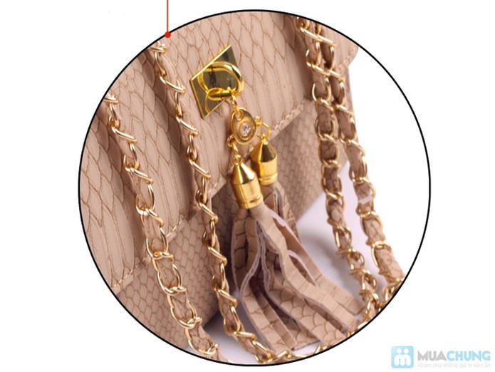 Túi xách da rắn khóa vàng - 10