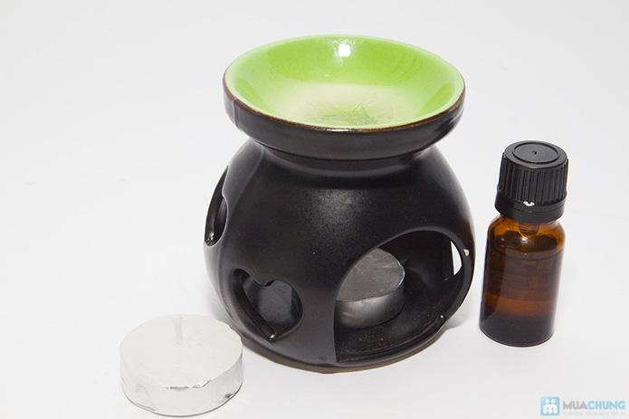 Đèn xông tinh dầu + 2 cây nến + 1 chai tinh dầu (10ml) - 9
