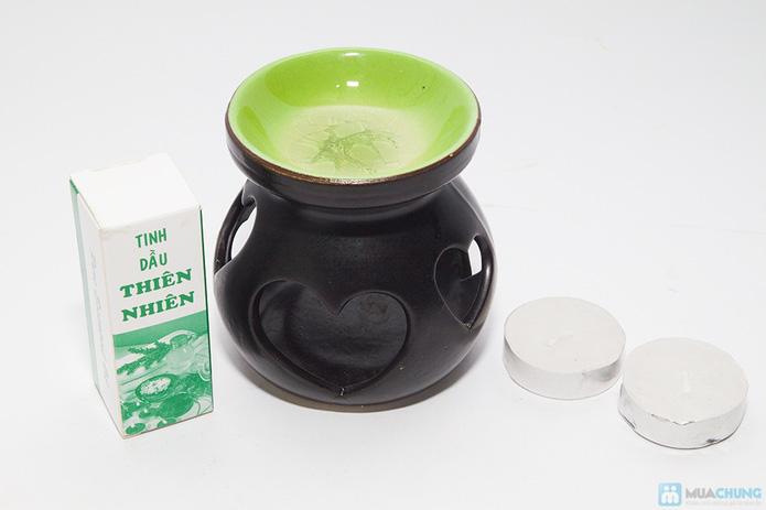 Đèn xông tinh dầu + 2 cây nến + 1 chai tinh dầu (10ml) - 4