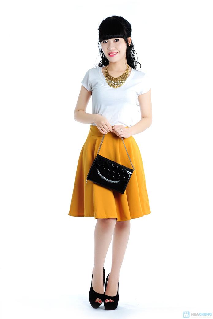 Chân váy xoè màu vàng - 3
