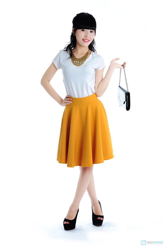 Chân váy xoè màu vàng - 1