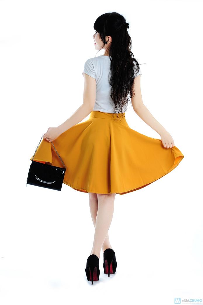 Chân váy xoè màu vàng - 5