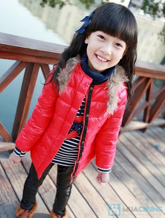 Áo phao cổ lông nhiều màu sắc cho bé gái - 1