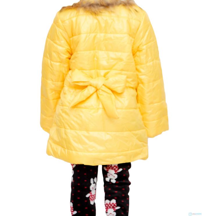 Áo phao cổ lông nhiều màu sắc cho bé gái - 11