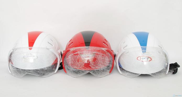 Mũ bảo hiểm 6 lỗ có kính chăn HKT - 7