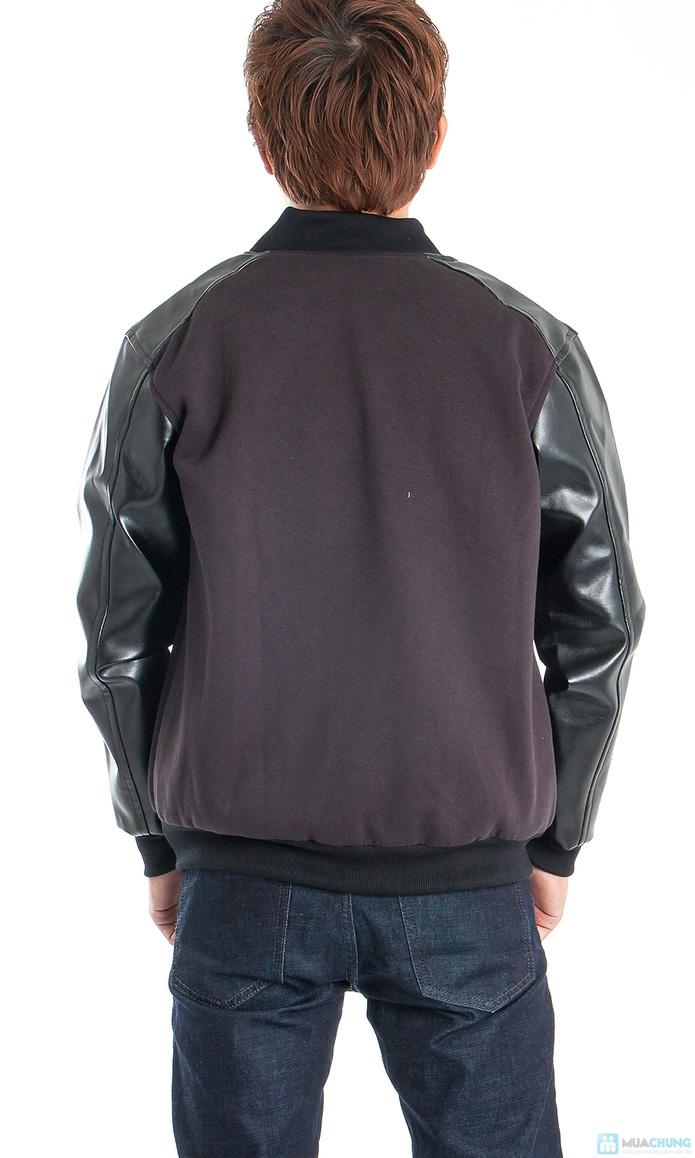 Áo khoác nam tay dài phối da - 3