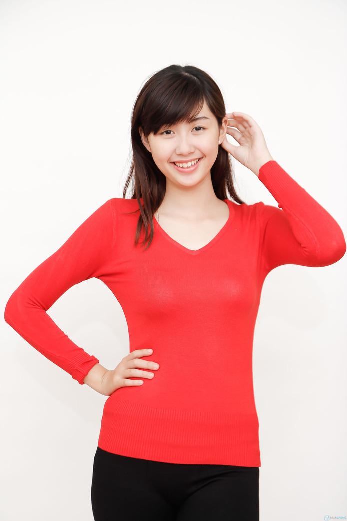 Combo 02 áo len cổ tim nữ - 1