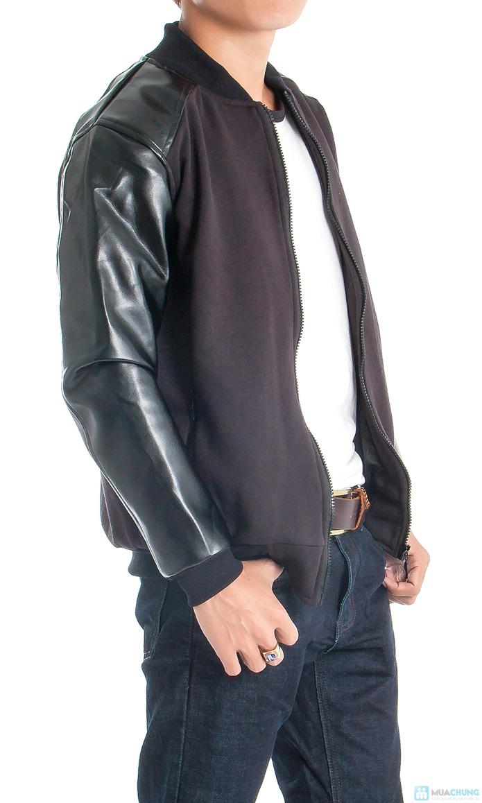 Áo khoác nam tay dài phối da - 2