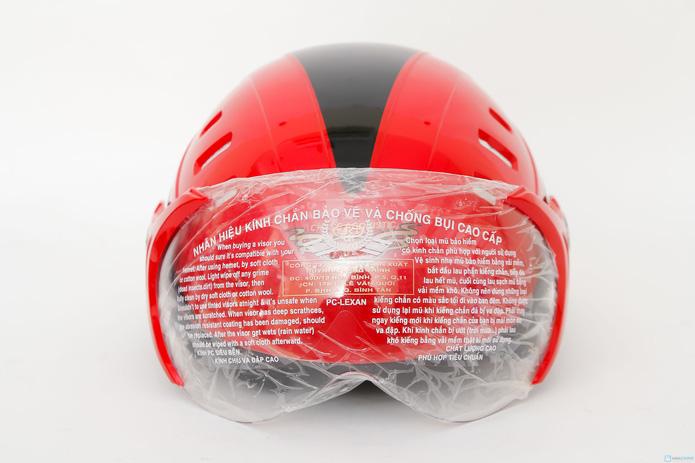 Mũ bảo hiểm 6 lỗ có kính chăn HKT - 2