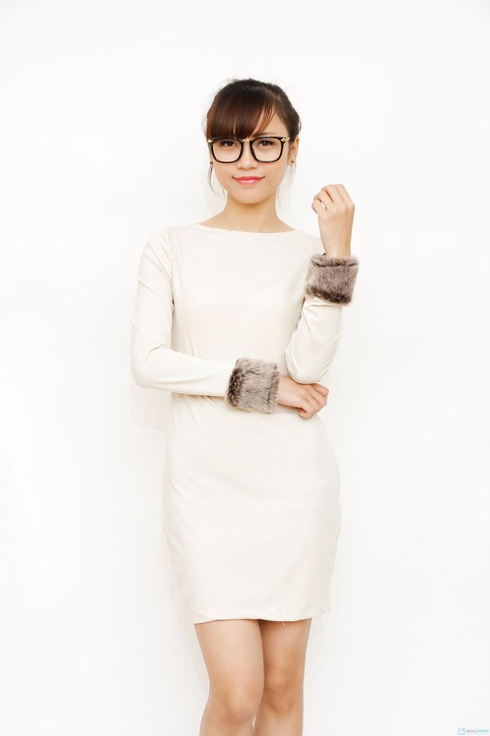 Váy thun tay phối lông điệu đà - 1