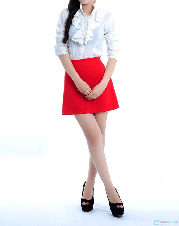 Chân váy màu đỏ hai túi - 1