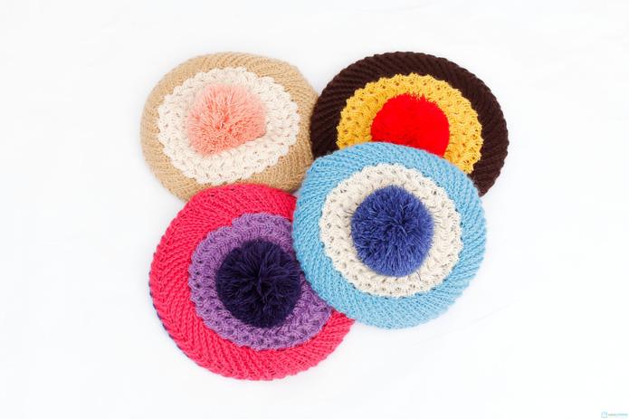 Bộ khăn và mũ nồi len xinh xắn cho bé gái - 7