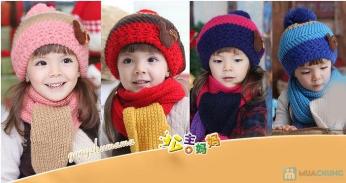 Bộ khăn và mũ nồi len xinh xắn cho bé gái - 5