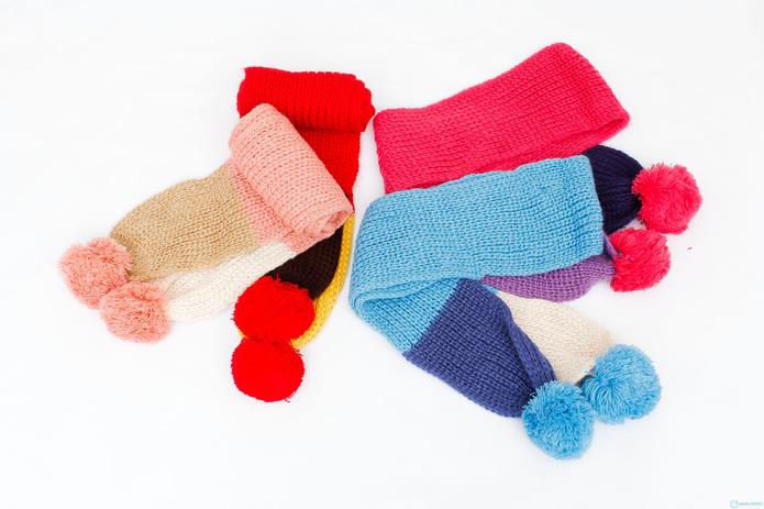 Bộ khăn và mũ nồi len xinh xắn cho bé gái - 6