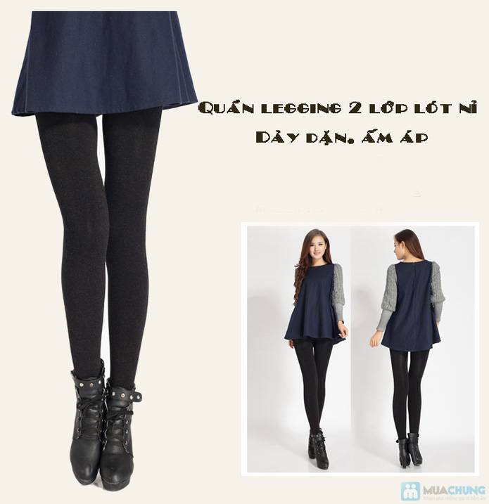 Com bo 2 Quần legging lót nỉ dẫm gót hoặc cổ chân - 9
