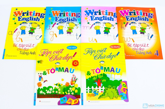 Tập viết chữ đẹp & tô màu (2 tập) + Tập viết chữ đẹp tiếng Anh (4 tập) - 1