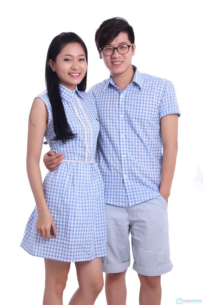 Sơmi nam và đầm nữ caro xanh - cho cặp đôi - 5