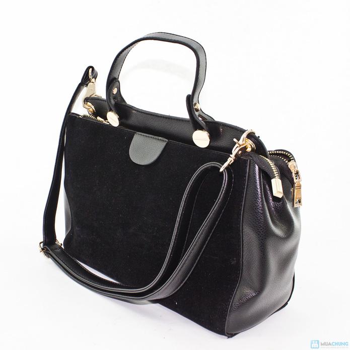 Túi xách da phối nhung sành điệu - 1