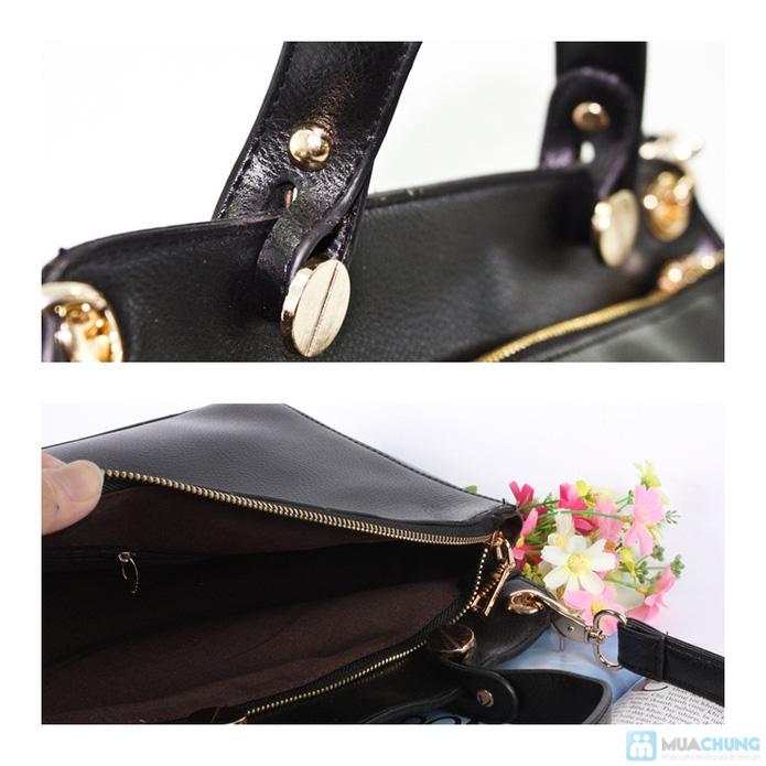 Túi xách da phối nhung sành điệu - 3