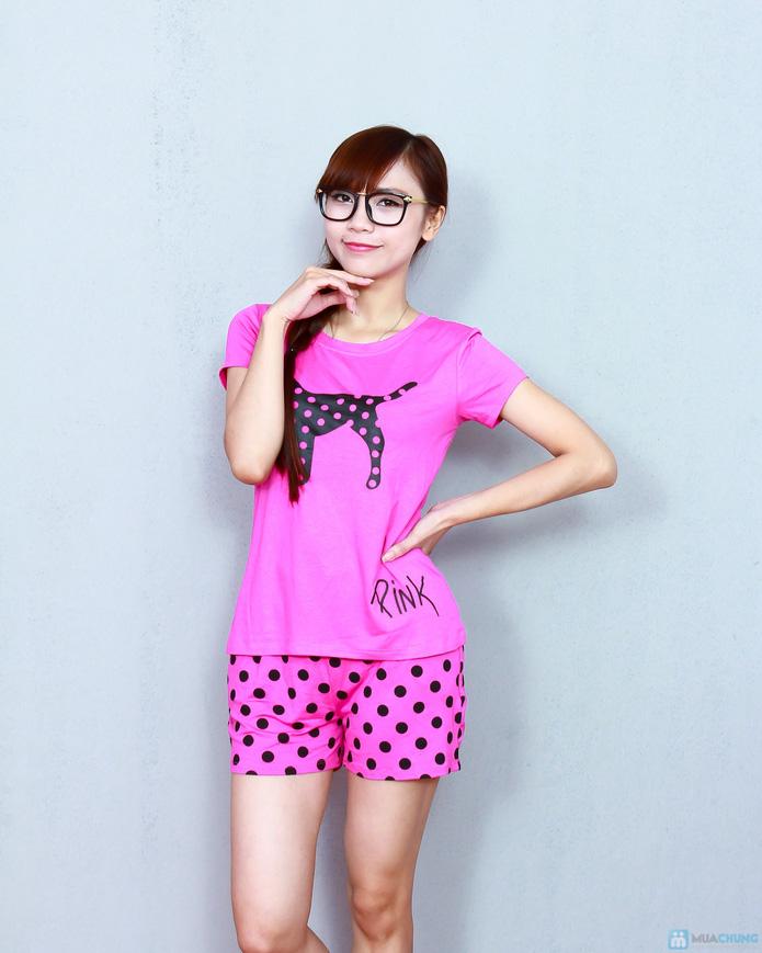 Bộ pink cộc cotton thoáng mát - 1