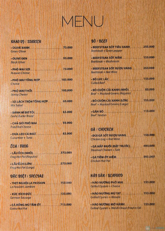 Hào sữa nướng mọi và chấm wasabi + Bò thanh chấm wasabi + Rượu vang trắng cho 2 người tại La Passion Wine Bar - 1