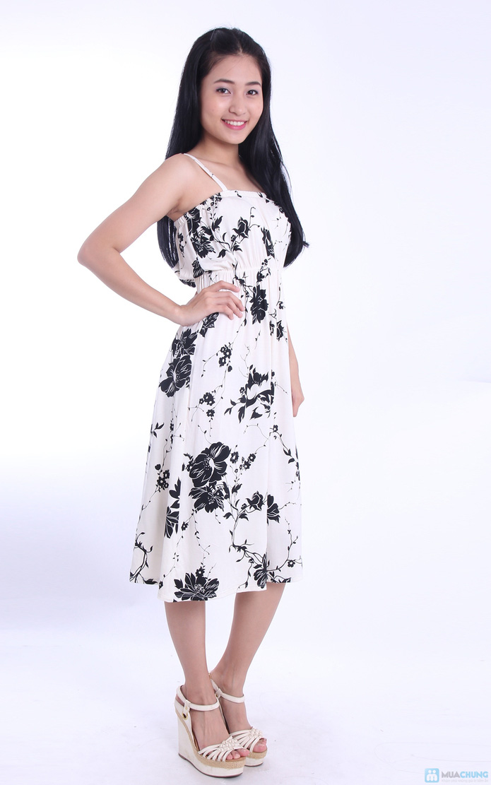 Đầm hoa maxi hai dây - 5