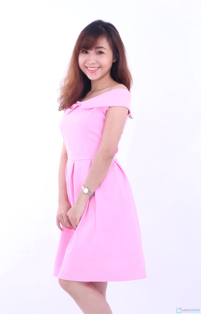 Đầm hồng trễ vai quyến rũ - 1