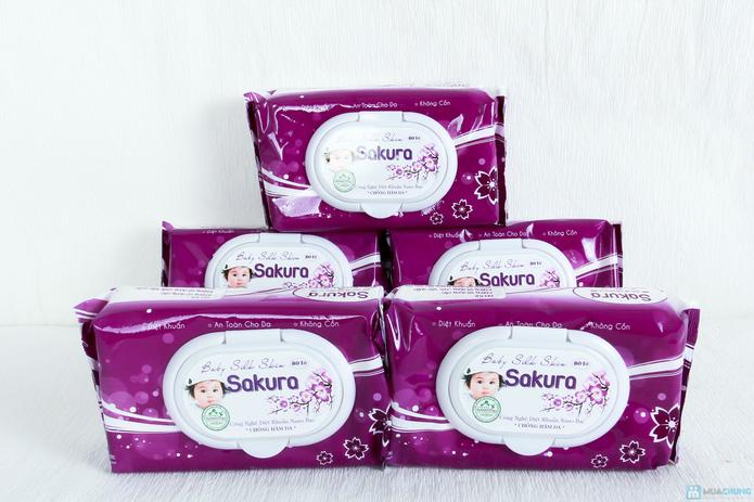5 gói khăn ướt Sakura Nano bạc 80 tờ - 1