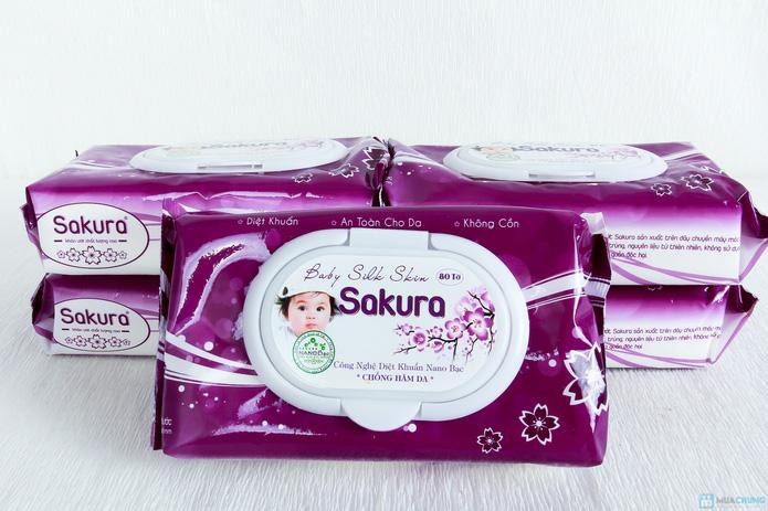 5 gói khăn ướt Sakura Nano bạc 80 tờ - 6
