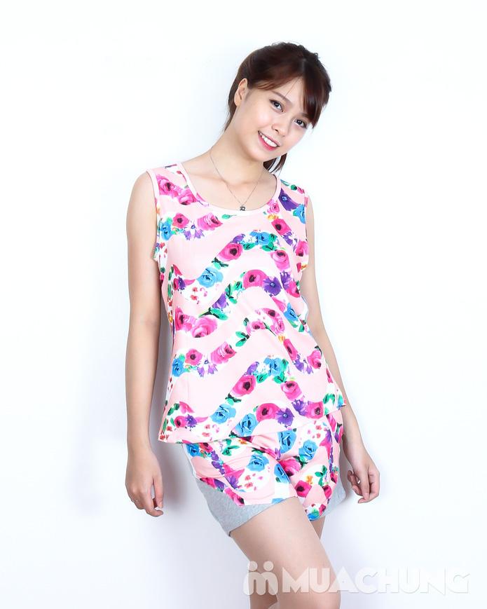 Bộ quần short áo sát nách cotton hoa xinh xắn  - 4