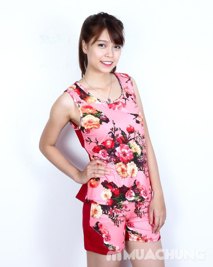 Bộ quần short áo sát nách cotton hoa xinh xắn  - 2