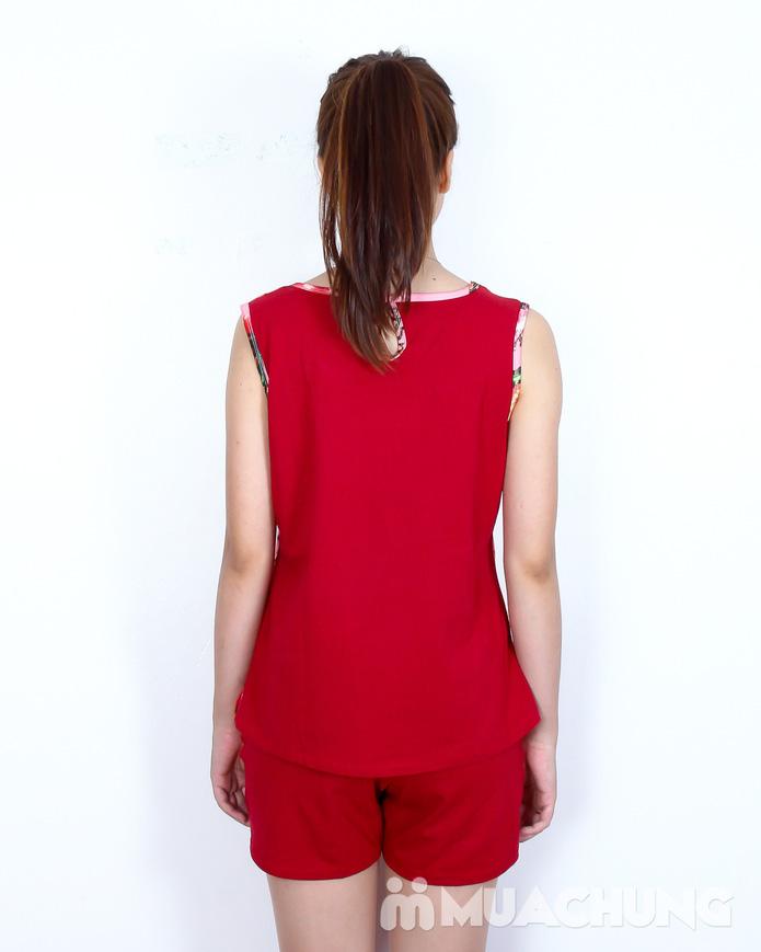 Bộ quần short áo sát nách cotton hoa xinh xắn  - 3