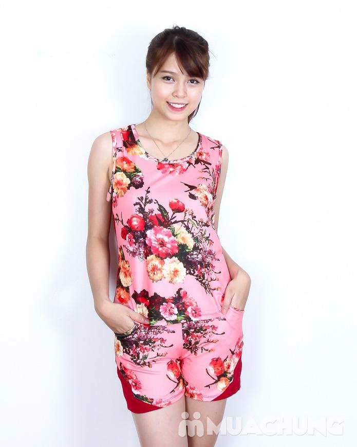 Bộ quần short áo sát nách cotton hoa xinh xắn  - 1