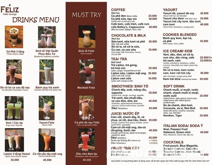 Pizza Hawaii + gà đút lò / mì Ý gà sốt Pesto + sinh tố + mocktail dành cho 2 người tại Feliz Cafe Lounge - 2
