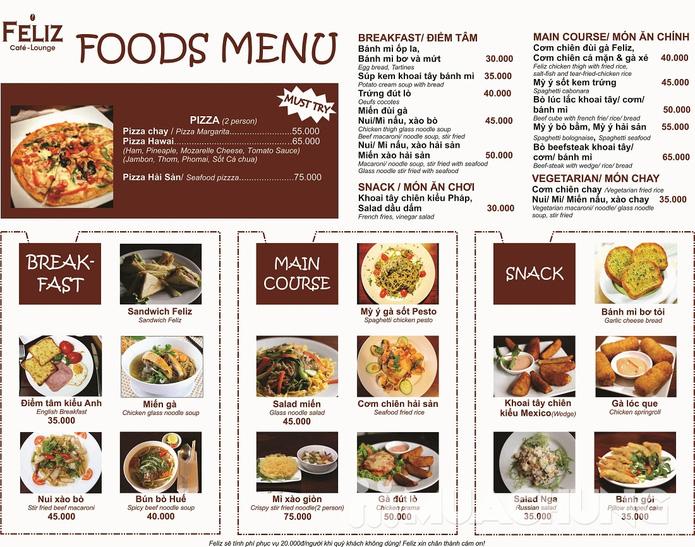 Pizza Hawaii + gà đút lò / mì Ý gà sốt Pesto + sinh tố + mocktail dành cho 2 người tại Feliz Cafe Lounge - 1