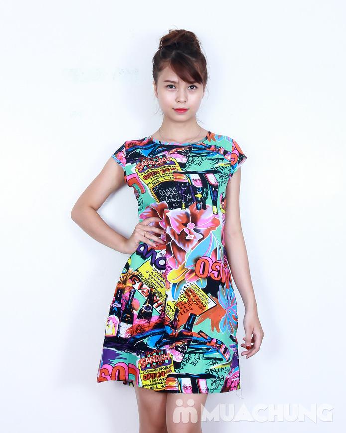 Váy lanh họa tiết sắc màu - 2