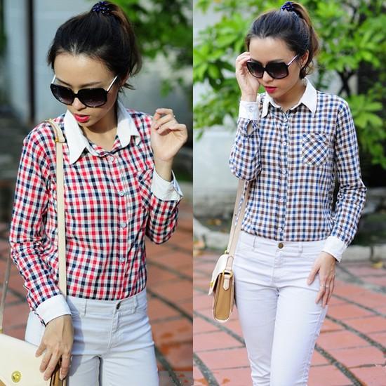 Tự tin khoe cá tính với áo sơ mi nữ sọc caro Yan Fashion - Chỉ 129.000đ/01 Chiếc