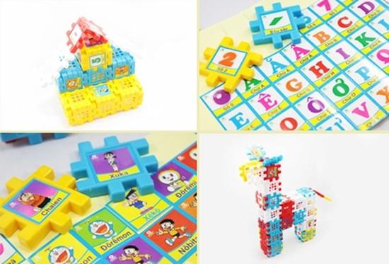 Bộ xếp hình ô vuông cho bé dễ dàng học bảng chữ cái, con số, ghép câu từ... - Chỉ 80.000đ