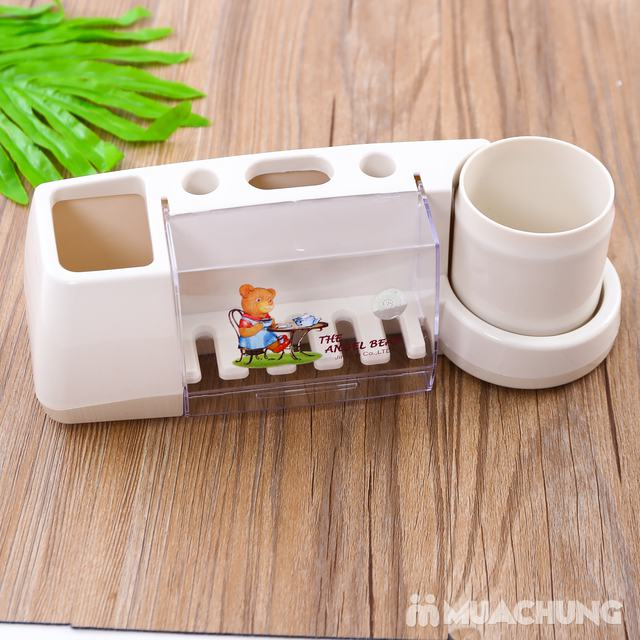 Giá treo để bàn chải, kem đánh răng kèm cốc - 4