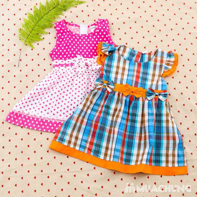 2 váy vải thô xinh xắn cho bé gái size từ 1-3  - 8
