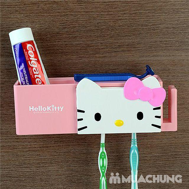 Kệ treo bàn chải, kem đánh răng hình kitty hút chân không - 2