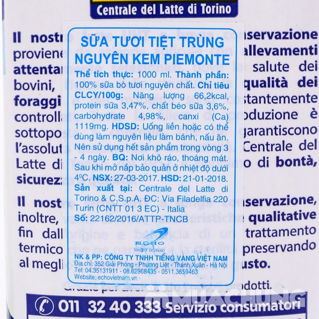 6 hộp sữa nguyên kem Piemonte nhập khẩu Ý loại 1L - 3