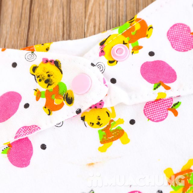10 khăn yếm cotton có cúc bấm cho bé - 2