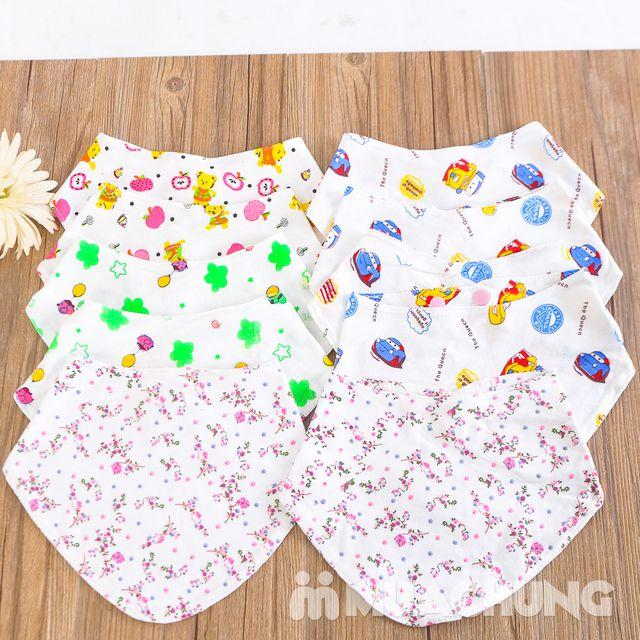 10 khăn yếm cotton có cúc bấm cho bé - 3