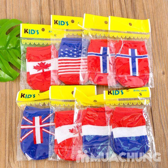 08 đôi tất họa tiết lá cờ, chống trượt cho bé yêu - 8