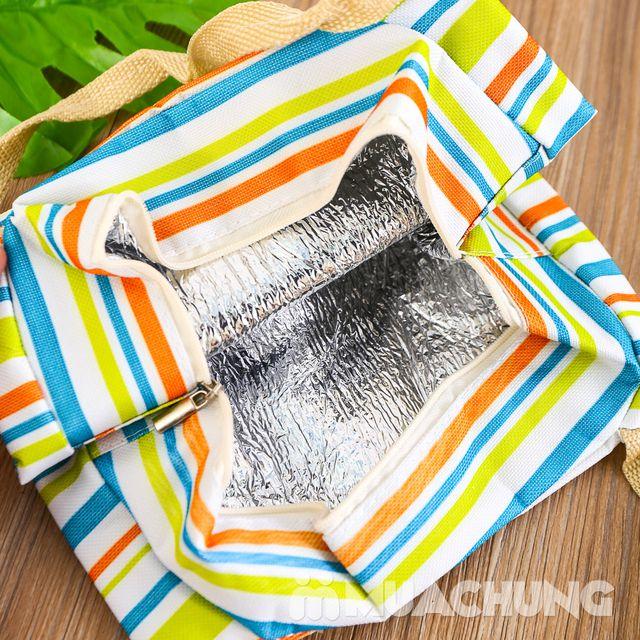 Túi giữ nhiệt đựng thức ăn họa tiết kẻ trẻ trung - 4