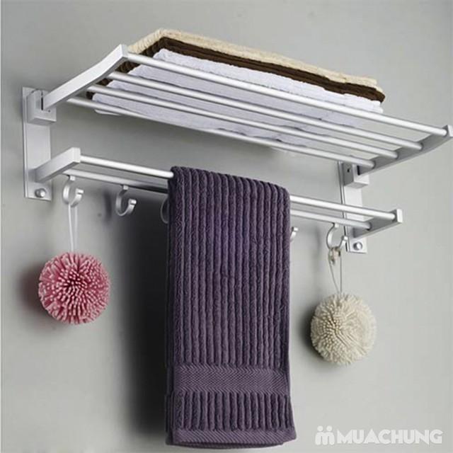 Giàn treo khăn 2 tầng cao cấp có móc treo - 5