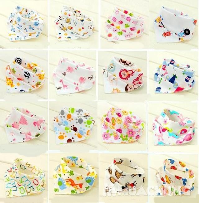 5 khăn yếm tam giác 2 lớp chất cotton mềm mịn    - 11