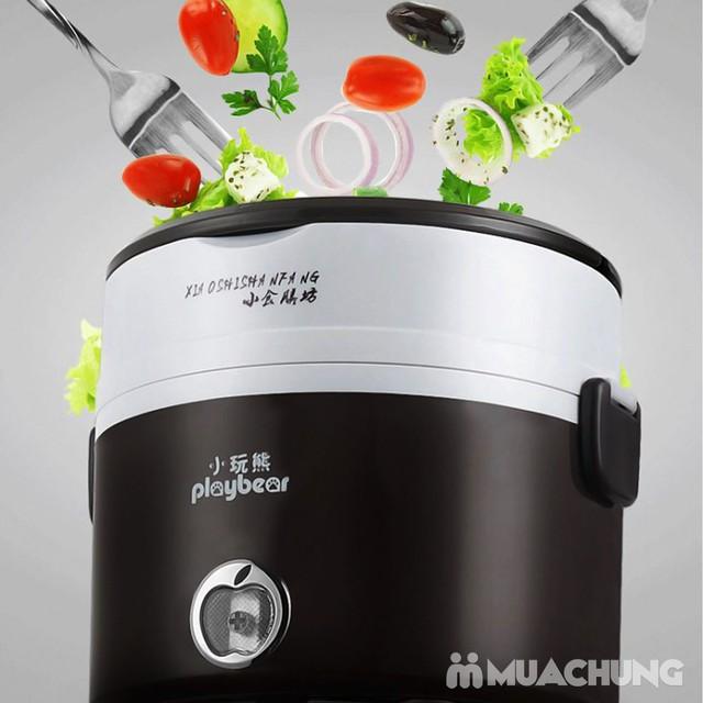 Hộp cơm cắm điện inox 2 ngăn Playbear DFH-2013 - 6