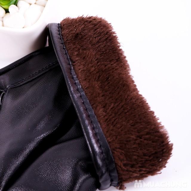 Găng tay da nam lót lông bền đẹp, thời trang - 5